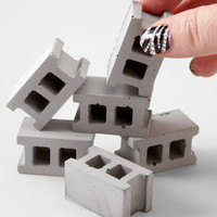 Concrete Block Magnet Set - Set Of 6 Magnets