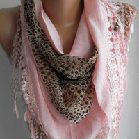Light Pink / leopard Elegance Shawl by womann on Etsy