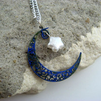 Blue Moon Necklace with StarShaped Pearl Accent by Covert Creations