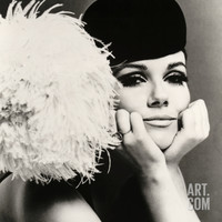 Nicole de la Marge in a Peter Shepherd Velvet Cap, 1965 Giclee Print by John French at Art.com