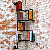 Industrial Corner Pipe Shelf by stellableudesigns on Etsy