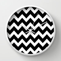 Chevron Black & White Wall Clock by BeautifulHomes | Society6
