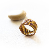 Bronze delica  band ring  by CallOfEarth on Etsy
