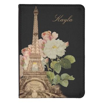 Paris Pink Rose Black Vintage Personlized Kindle