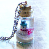 Snowman in a bottle necklace winter wonderland scene by UraniaArt