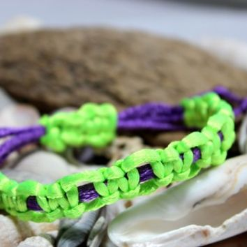 Purple and Neon Green Adjustable Chinese Knotting Cord Bracelet