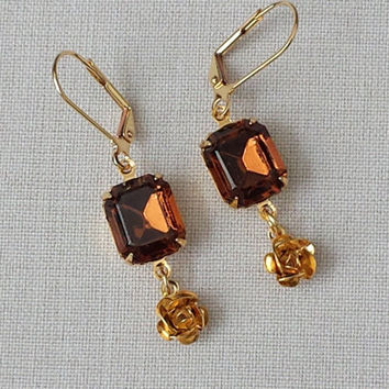 Smoked Topaz Earrings made with a Vintage Swarovski Crystal, Classic Hollywood, Retro, Rhinestone Earrings, Topaz Earrings, Brown Earrings