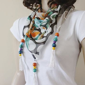 Multicolor Scarf  With Tassels - Scarf With Wooden Beads