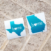 Any State Vinyl Decal Sticker - Georgia, Texas, etc - DIY - home is where the heart is - Home State Car Decal