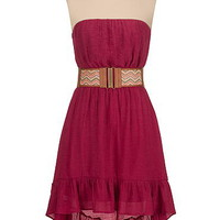high-low belted gauze dress with ruffle hem