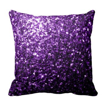 Beautiful Purple glitter sparkles look: Throw pillow Cushion by PLdesign