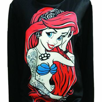 Gothic Clothing Sweatshirts Little Mermaid Hoodies Pullovers Sweater For Women