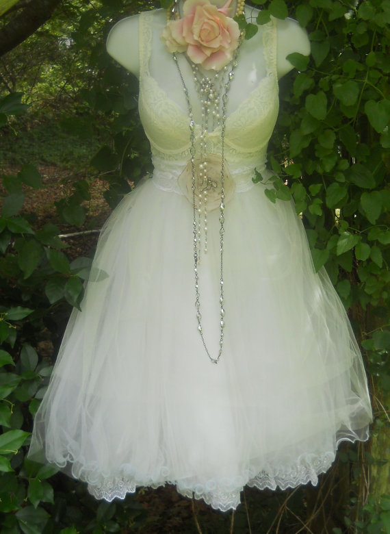 Ivory wedding dress tulle baby doll cream prom by vintageopulence