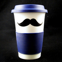 2 sided Mustache Travel Mug navy blue by kaoriglass on Etsy