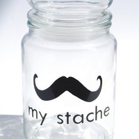 My Stache jar the Gentleman Mustache Glass Jara by lovegracejoy