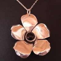 Sterling Silver Hibiscus Pendant Handmade with Onyx Stone - Nici&#x27;s Custom Guitar Picks and Jewelry