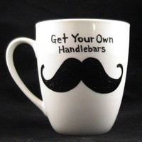 Irish Mustache coffee mug handpainted by kaoriglass on Etsy