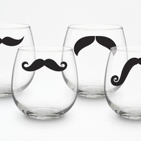 Mustache Stemless Wine Glasses