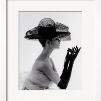 Madame Paulette Net Hat, c.1963 Art Print by John French at Art.com