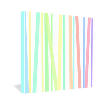 Lisa Argyropoulos Pastel Rainbow Stripes Gallery Wrapped Canvas