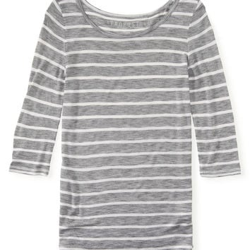 3/4 Sleeve Sheer Striped Boat-Neck Tee