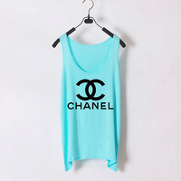 Classic Chanel  Women Tank Top  Light Blue  Sides by zzzAfternoon