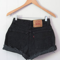 Vtg Levi's Black High Waisted Cut Off Denim Shorts Jean Cuffed Rolled USA 26""