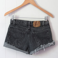 Vtg Levi's Black Acid Wash Mid High Waisted Cut Off Denim Shorts Jean 26""