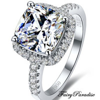3 Ct Cushion Cut lab created Diamond (not CZ) Halo Setting Engagement Wedding Promise Ring with gift box- made to order