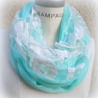 Lace Infinity Scarf Aqua Blue Scarf Summer Scarf Women Fashion  By- PiYOYO