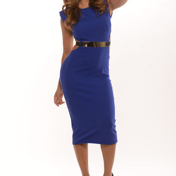 Sleeveless Padded Shoulders Open Back Belted Dress - Royal | Fashion Nova