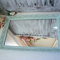 Filigree Mirror or Vanity Tray, Mint Green Vintage Vanity Mirror Tray, Sea Glass Green Painted Metal Mirror, Shabby Chic, Cottage Chic