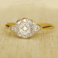 Beautiful 1920's Art Deco Diamond Platinum and 18k by luxedeluxe