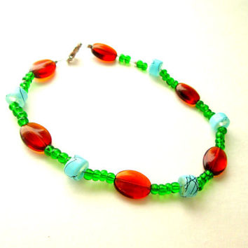 "Blue, Green, and Brown Beaded Anklet / Handcrafted 9"" inch Blue, Green, and Brown Anklet w/ Glass Beads, Wire and Lobster Clasp"
