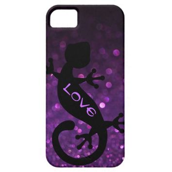 Gecko on Purple Glitter iPhone 5/5S Case