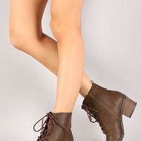 Qupid Pompeo-01 Military Lace Up Ankle Bootie