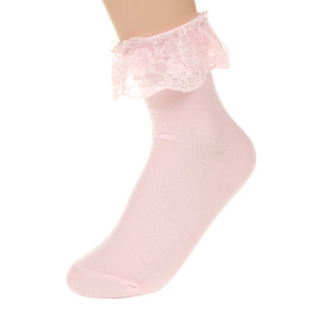 Retro Flowery Lace Trim Ankle Socks