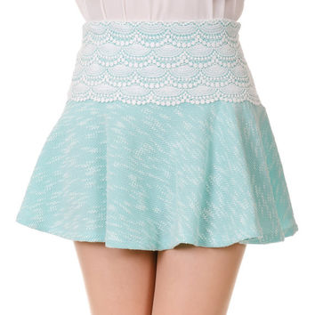 Laced Waist Flared Mini Skirt