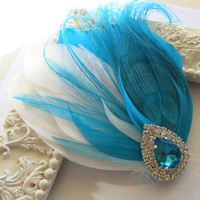 Bride Bridesmaid Feather Hair Accessory, Feather Fascinator, Bridal, Hair PIece,Peacock, Turquoise, Blue Feather, Hair Clip
