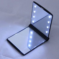 pay4save HOT Sale !!!!!! Girl Compact Hand Cosmetic Makeup Pocket Mirror with 8 LED Light