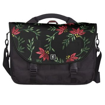 Glitter Red Floral Pattern Print Computer Bag