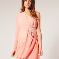 Lipsy | Lipsy Embellished Hip Chiffon Sleeve Dress at ASOS