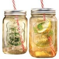 Set of Two (2) Clear Glass Mason Jar Beverage Cups ~ 30-oz Drink Cup with Stainless Steel Lid, Straw Included:Amazon:Home & Kitchen