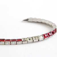 Antique Art Deco Ruby Pink & Clear Rhinestone Bracelet- Vintage 1930s Sterling Silver Formal Bridal Jewelry