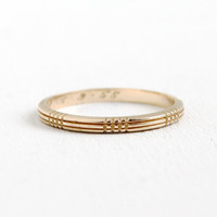 Vintage 14K Yellow Gold Dated Wedding Band Ring- Size 6 3/4 Mid-Century Linear Etched Fine Minimalist Jewelry