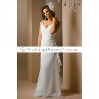 Empire Spaghetti straps V-neck Chapel train Chiffon wedding dress for brides 2012 style(WDA1413) [WDA1413] - $136.99 : wedding fashion, wedding dress, bridal dresses, wedding shoes