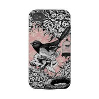 Vintage bird and flowers on pink damask iphone 4 tough covers from Zazzle.com