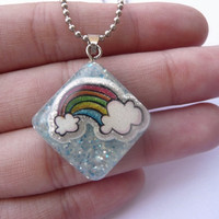 Rainbow Resin Necklace, Rainbow in The Sky, Sky Necklace, Tiny Rainbow Necklace, Blue Glitter Pendant