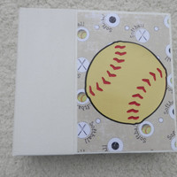 6x6 Chipboard Softball Scrapbook Photo Album