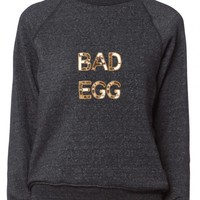 BAD Bow and Drape Egg Sweatshirt, bad, egg, custom, sequin, text, sweatshirt, heather, gray, create your own,